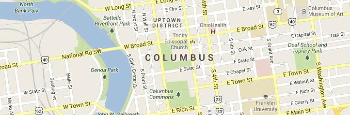 Map of Columbus Ohio Service Area