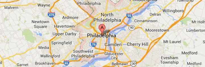 Map of Philadelphia-Pennsylvania service area
