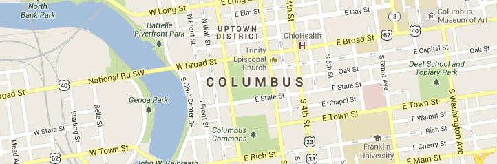 Map of Columbus Ohio Service Area