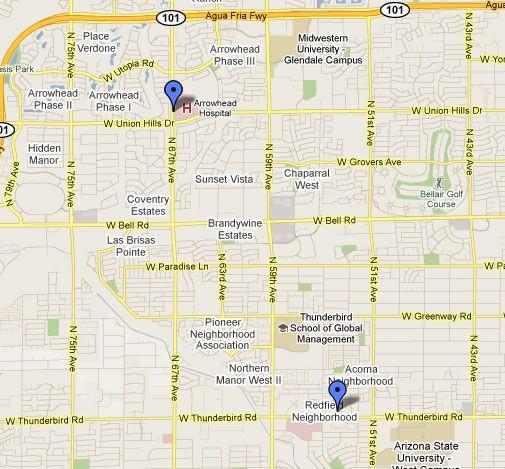 Glendale, AZ map